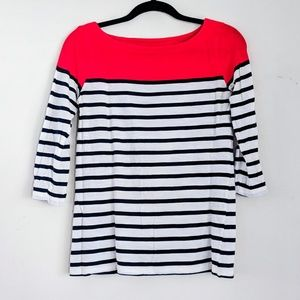 LOFT 3/4 sleeve boatneck shirt red white & navy